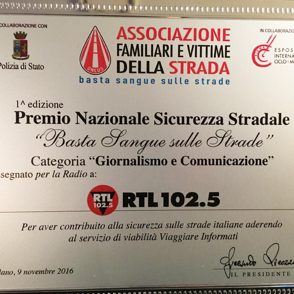 Premio Nazionale per la Sicurezza Stradale a RTL 102.5