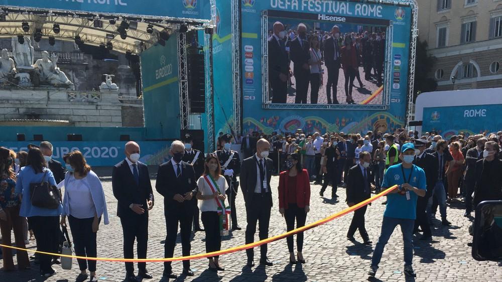 """Al via l'Uefa Festival di Roma. La Fan Zone più grande d'Europa, il sindaco Raggi """"Roma città della ripartenza. Forza Azzurri"""""""