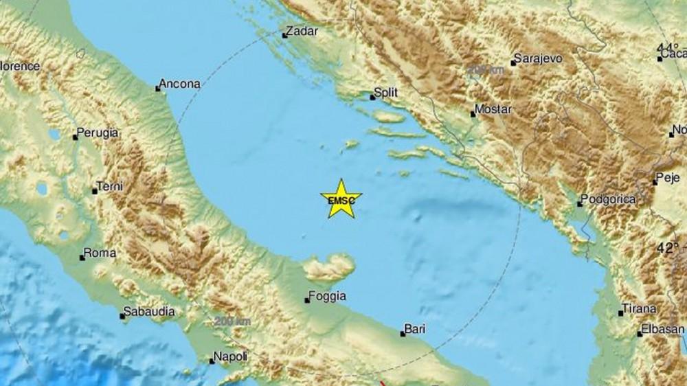 Forte scossa di terremoto in Adriatico, magnitudo 5,6; il sisma avvertito da Ancona a Foggia