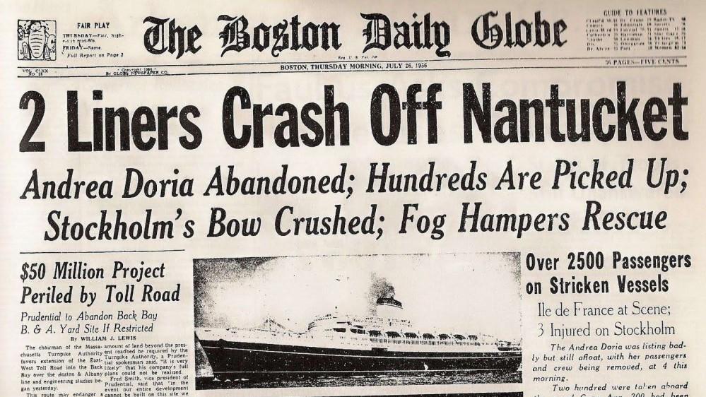 Il 26 luglio del 1956 il naufragio del transatlantico Andrea Doria, affondò nell'Oceano Atlantico