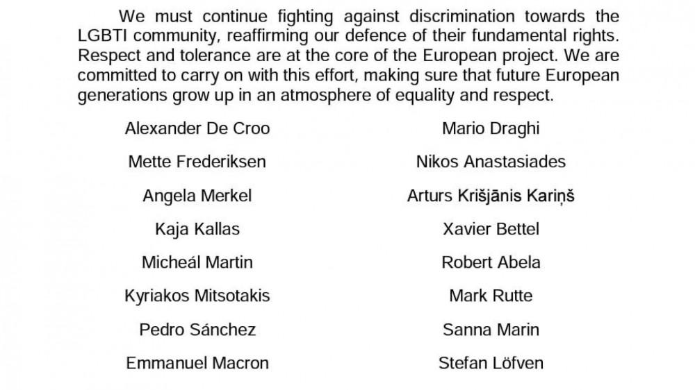 Lettera dei leader europei contro le discriminazioni Lgbti, Draghi e altri 15 Capi di Stato e di Governo firmano il testo