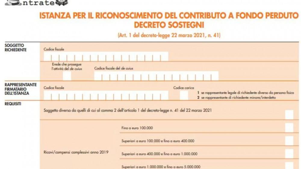 Sul sito dell'Agenzia delle entrate pubblicate le istruzioni per richiedere i contributi previsti dal Decreto Sostegni